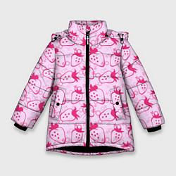 Куртка зимняя для девочки Клубничка цвета 3D-черный — фото 1