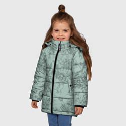 Куртка зимняя для девочки Пионы и розы цвета 3D-черный — фото 2