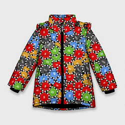 Куртка зимняя для девочки Фишки для Покера цвета 3D-черный — фото 1