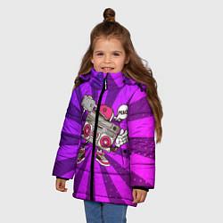 Куртка зимняя для девочки Магнитофон делает сэлфи цвета 3D-черный — фото 2