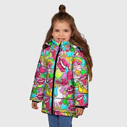 Куртка зимняя для девочки Губы фреш цвета 3D-черный — фото 2