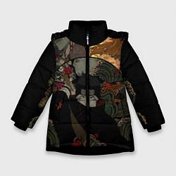 Куртка зимняя для девочки Хошигаки Кисаме из Наруто цвета 3D-черный — фото 1