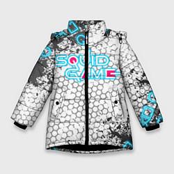 Куртка зимняя для девочки Игра в кальмара цвета 3D-черный — фото 1