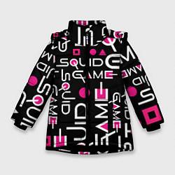 Куртка зимняя для девочки SQUID GAME ЛОГО PINK цвета 3D-черный — фото 1