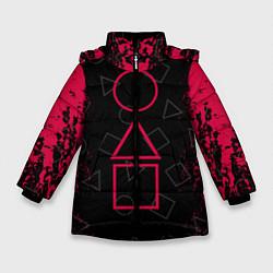 Куртка зимняя для девочки Игра в кальмара: Игра началась цвета 3D-черный — фото 1
