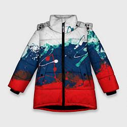 Куртка зимняя для девочки Триколор РФ цвета 3D-черный — фото 1
