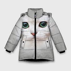 Куртка зимняя для девочки Белый котик цвета 3D-черный — фото 1