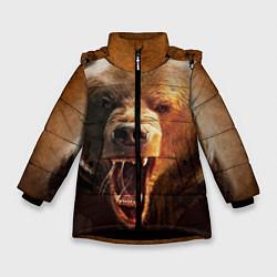 Куртка зимняя для девочки Рык медведя цвета 3D-черный — фото 1