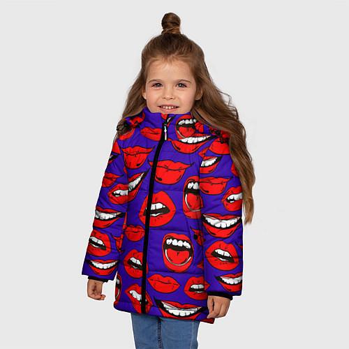 Зимняя куртка для девочки Губы / 3D-Черный – фото 3
