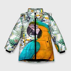 Куртка зимняя для девочки Летний попугай цвета 3D-черный — фото 1
