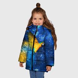 Детская зимняя куртка для девочки с принтом Космический попугай, цвет: 3D-черный, артикул: 10065277406065 — фото 2