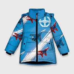 Куртка зимняя для девочки Самолеты ВВС цвета 3D-черный — фото 1