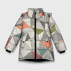 Куртка зимняя для девочки Геометрия цвета 3D-черный — фото 1