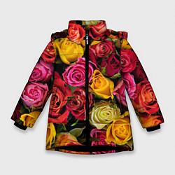 Детская зимняя куртка для девочки с принтом Ассорти из роз, цвет: 3D-черный, артикул: 10067033006065 — фото 1
