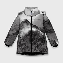 Куртка зимняя для девочки Горы цвета 3D-черный — фото 1
