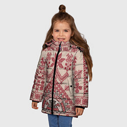 Куртка зимняя для девочки Вышивка цвета 3D-черный — фото 2