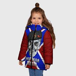 Куртка зимняя для девочки Череп: Морская пехота цвета 3D-черный — фото 2