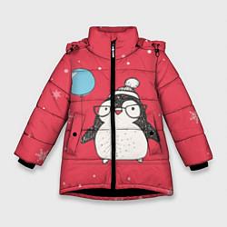 Куртка зимняя для девочки Влюбленная пингвинка цвета 3D-черный — фото 1