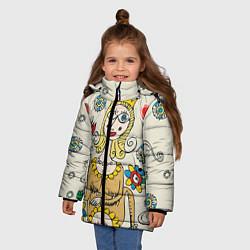 Детская зимняя куртка для девочки с принтом Червовая дама, цвет: 3D-черный, артикул: 10079042006065 — фото 2