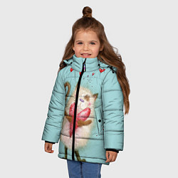 Куртка зимняя для девочки Котик цвета 3D-черный — фото 2