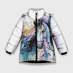 Куртка зимняя для девочки Акварельная лошадь цвета 3D-черный — фото 1