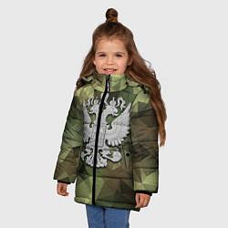 Куртка зимняя для девочки Камуфляж и герб цвета 3D-черный — фото 2