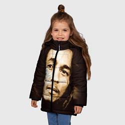 Куртка зимняя для девочки Взгляд Боба Марли цвета 3D-черный — фото 2