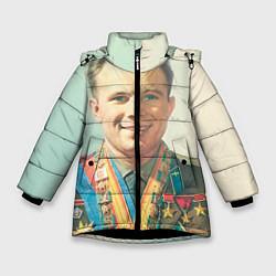Куртка зимняя для девочки Гагарин в орденах цвета 3D-черный — фото 1