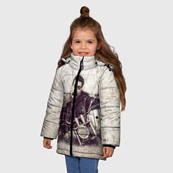 Детская зимняя куртка для девочки с принтом Сталин байкер, цвет: 3D-черный, артикул: 10082408006065 — фото 2