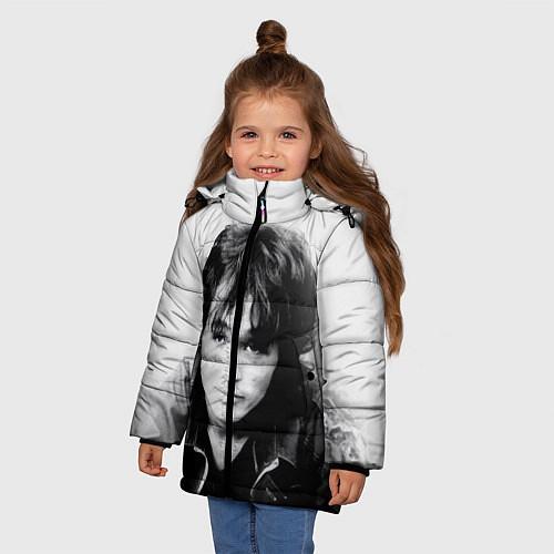 Зимняя куртка для девочки Кино: Виктор Цой / 3D-Черный – фото 3