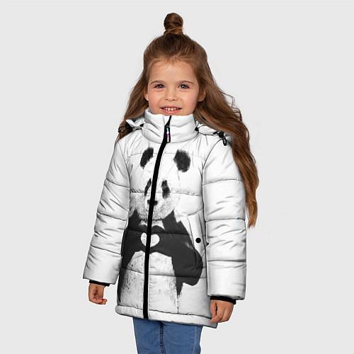 Зимняя куртка для девочки Panda Love / 3D-Черный – фото 3
