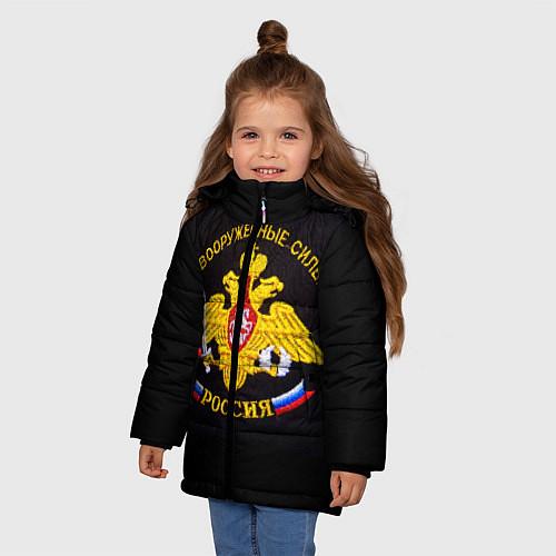 Зимняя куртка для девочки ВС России: вышивка / 3D-Черный – фото 3