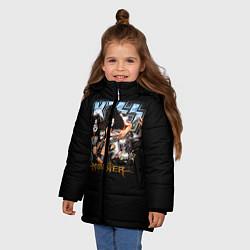 Куртка зимняя для девочки Kiss Monster цвета 3D-черный — фото 2