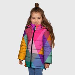 Куртка зимняя для девочки Разноцветные полигоны цвета 3D-черный — фото 2