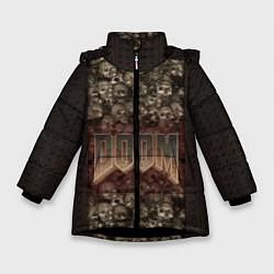 Куртка зимняя для девочки DOOM Skulls цвета 3D-черный — фото 1