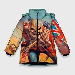Детская зимняя куртка для девочки с принтом Iron Maiden: Crash arrow, цвет: 3D-черный, артикул: 10089880706065 — фото 1