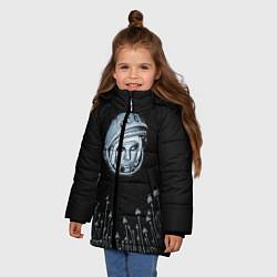 Куртка зимняя для девочки Гагарин в небе цвета 3D-черный — фото 2