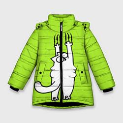 Куртка зимняя для девочки Кот Симон на стене цвета 3D-черный — фото 1