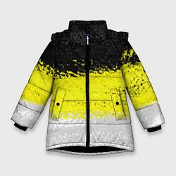 Детская зимняя куртка для девочки с принтом Имперский флаг 1858 года, цвет: 3D-черный, артикул: 10097511506065 — фото 1