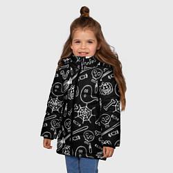 Куртка зимняя для девочки Призрачный арт цвета 3D-черный — фото 2