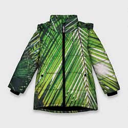 Куртка зимняя для девочки Пальмы цвета 3D-черный — фото 1