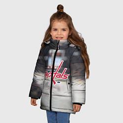 Детская зимняя куртка для девочки с принтом Washington Capitals, цвет: 3D-черный, артикул: 10099897106065 — фото 2