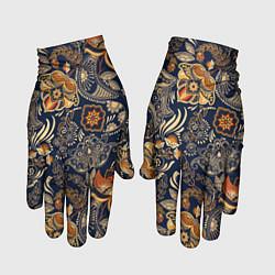 Перчатки Узор орнамент цветы этно цвета 3D-принт — фото 1