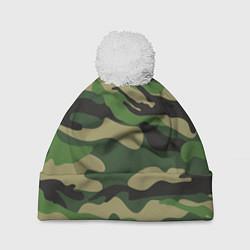 Шапка с помпоном Камуфляж: хаки/зеленый цвета 3D-белый — фото 1