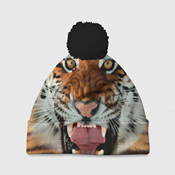 Шапка с помпоном Взгляд тигра цвета 3D-черный — фото 1