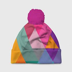 Шапка с помпоном Разноцветные полигоны цвета 3D-малиновый — фото 1