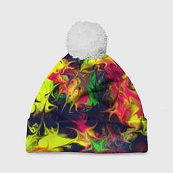 Шапка с помпоном Кислотный взрыв цвета 3D-белый — фото 1