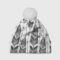 Шапка с помпоном Перья цвета 3D-белый — фото 1