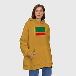 Толстовка-худи оверсайз Чечня: флаг цвета горчичный — фото 2