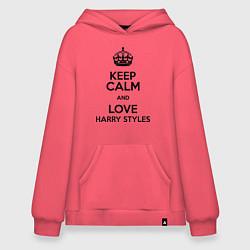 Толстовка-худи оверсайз Keep Calm & Love Harry Styles цвета коралловый — фото 1
